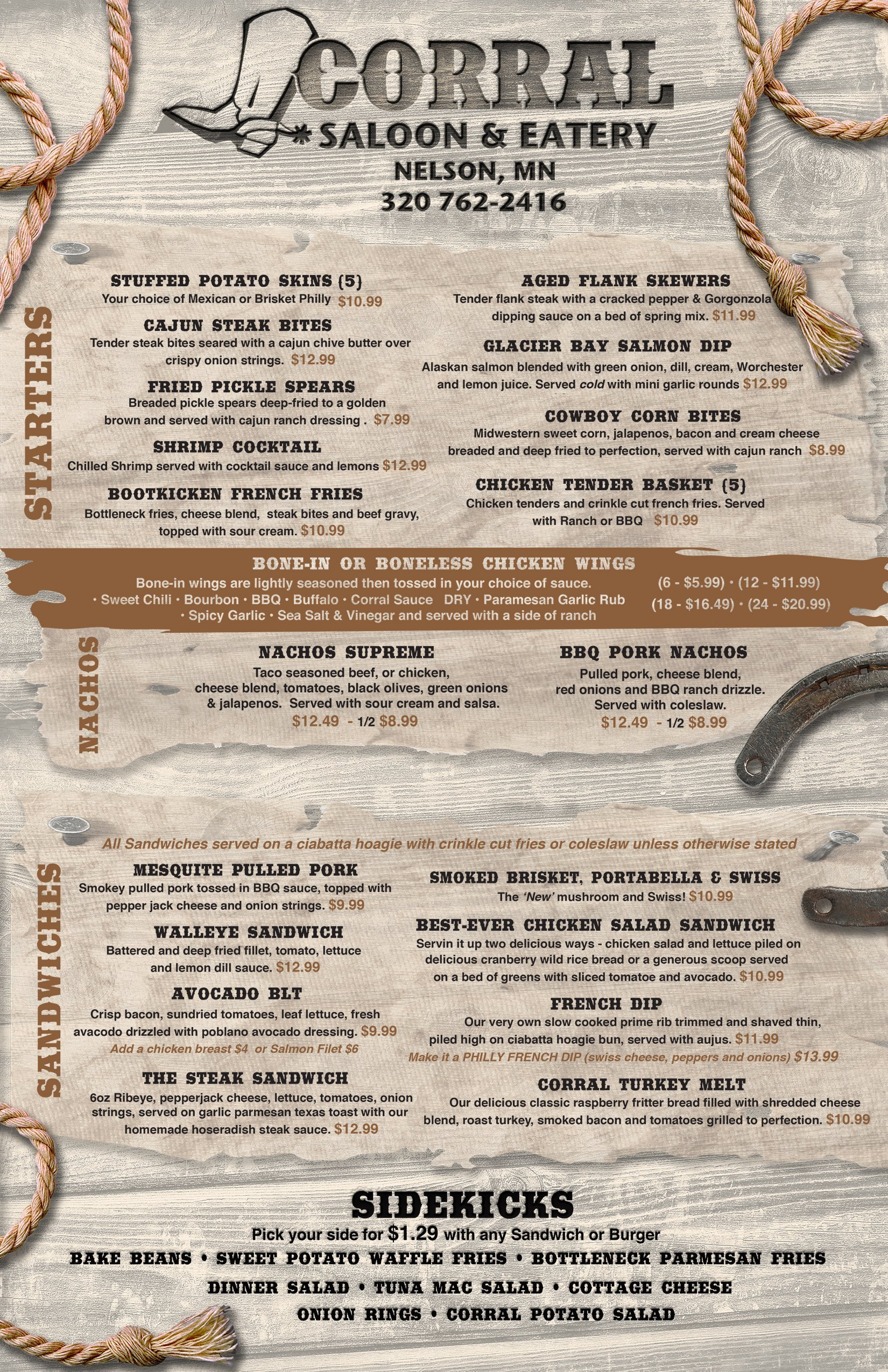 Corral Saloon Eatery Menu Front