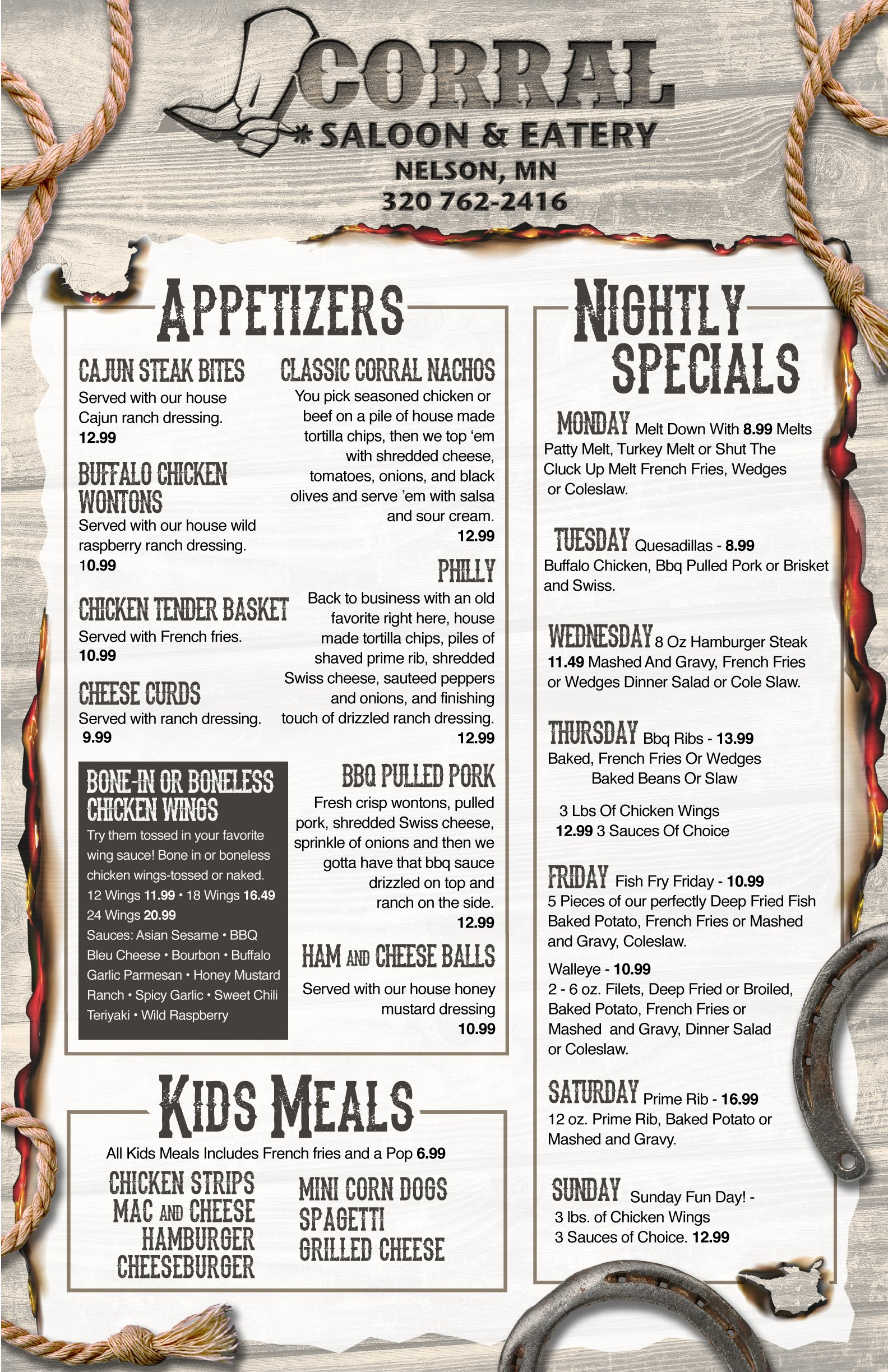 corral eatery menu page1